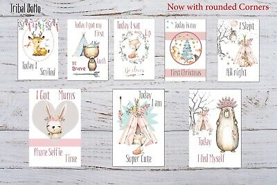 Baby Milestone Cards Boho Tribal Girls Pink Pack of 35 Full Set Or Age Only 17 5