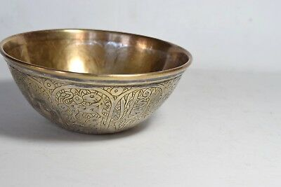Antique Vintage Ottoman Bowl Turkish Bowl Metal Engraved with pattern all around 3