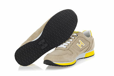HOGAN MENS SNEAKERS Shoes H198 Beige Suede Yellow Patent Leather ...