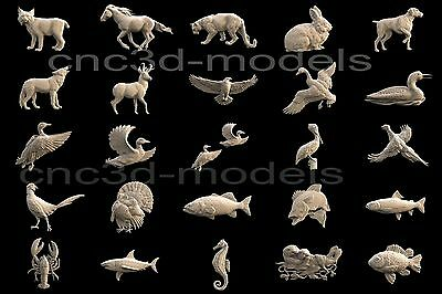 3D STL Models for CNC Router Carving Artcam Aspire Collection Animals 301 3