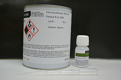 5 kg Gel coat polyester ISO finition bleu  RAL 5002 + catalyseur et pipette 3 ml 2