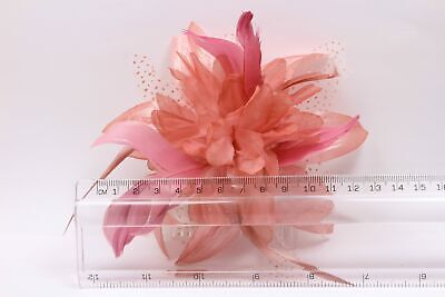 Pink fascinator comb in dusky dark chiffon flower with feather tendrils 2