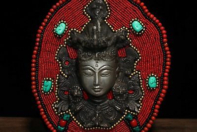 Chinese Antique Tibetan Buddhism hand-stitched system mother mosaic gem mask 2