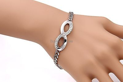 Silver Tone Stainless Steel Infinity Braided Chain Bangle Bracelet Women's Gift 5
