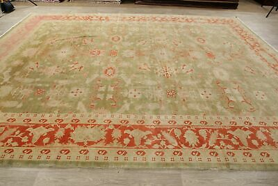 Antique Look Oushak Egyptian Oriental Area Rug Green/Rust Wool Hand-Made 11x14 9