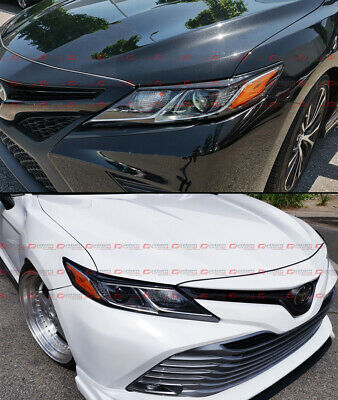 For 2018-2019 Toyota Camry Glossy Black Headlight Eyelid Eye Lid Cover Eyebrows 5