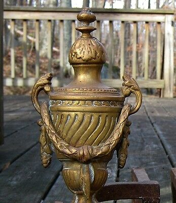 Antique 19th C. Bronze Brass French Louise XVI Urns Garland Fireplace Andirons 4