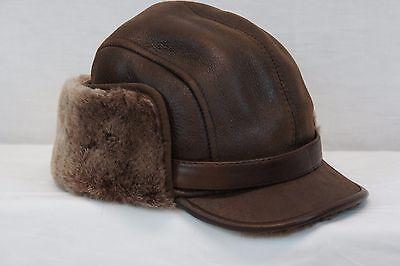 360b8c272af ... Real Sheepskin Shearling Leather Aviator Captain Hunting Elmer Fudd Hat  M-3XL 8