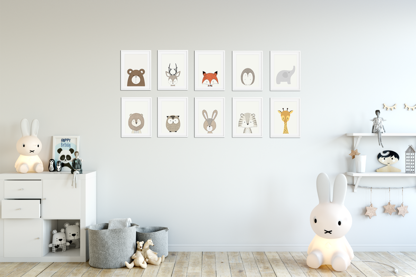 4 Of 5 Peekaboo Animal Prints For Nursery Prints Set Baby Christening  Bedroom Decor A5