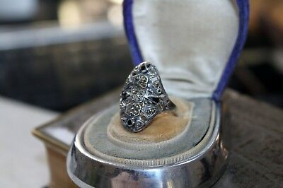 ART DECO vintage STERLING Silver MARCASITE Ring  7 1/2 6