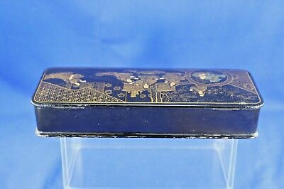 Antique Asian Lacquer Box With Gold Hand Painted Interior Scene 2