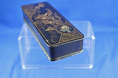 Antique Asian Lacquer Box With Gold Hand Painted Interior Scene 3