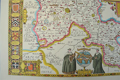 Vintage decorative sheet map of Oxfordshire Oxford John Speede 1610 4