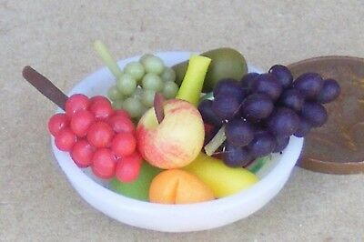1:12 Scale 10 Mixed Fruit Pieces In A Yellow Ceramic Bowl Tumdee Dolls House