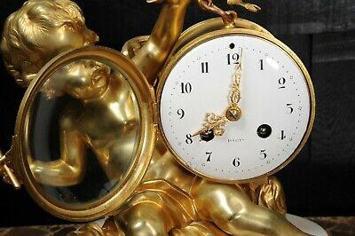ORMOLU & WHITE MARBLE ANTIQUE FRENCH CLOCK PUTTO in CLOUDS PLAYING a DRUM C1880 8