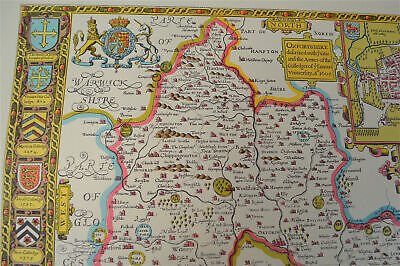 Vintage decorative sheet map of Oxfordshire Oxford John Speede 1610 3