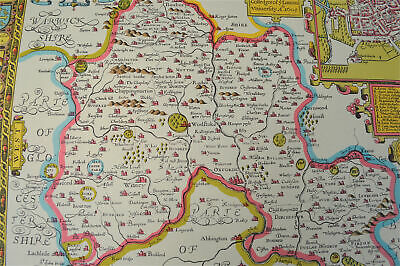 Vintage decorative sheet map of Oxfordshire Oxford John Speede 1610 6