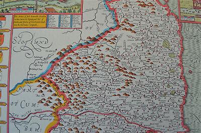 Vintage decorative sheet map of Northumberland John Speede 1610 6