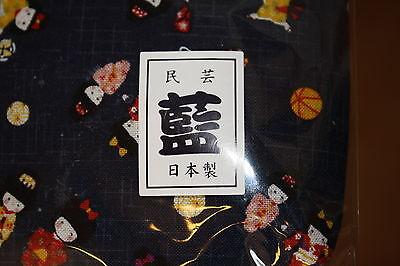 Kinchak Tragebeutel Volkskunst Aizome mit traditionelle Muster Kranich aus Japan 6