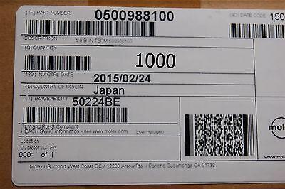 Molex 0510220600 Board-In Crimp Housing 6 Circuits 1000pcs Vertical