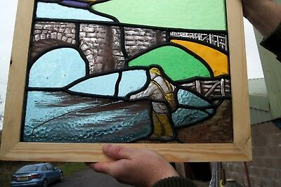 A Great Antique Stained Glass Painted Scene Window 2