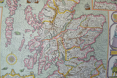 Vintage decorative sheet map of Scotland Orkney John Speede 1610 6