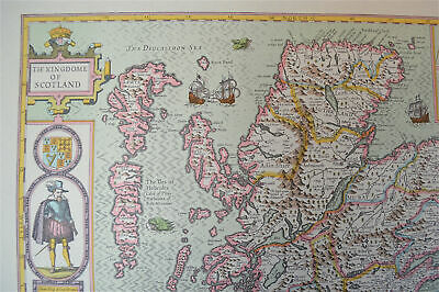 Vintage decorative sheet map of Scotland Orkney John Speede 1610 2