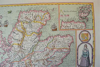 Vintage decorative sheet map of Scotland Orkney John Speede 1610 3