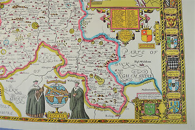 Vintage decorative sheet map of Oxfordshire Oxford John Speede 1610 5