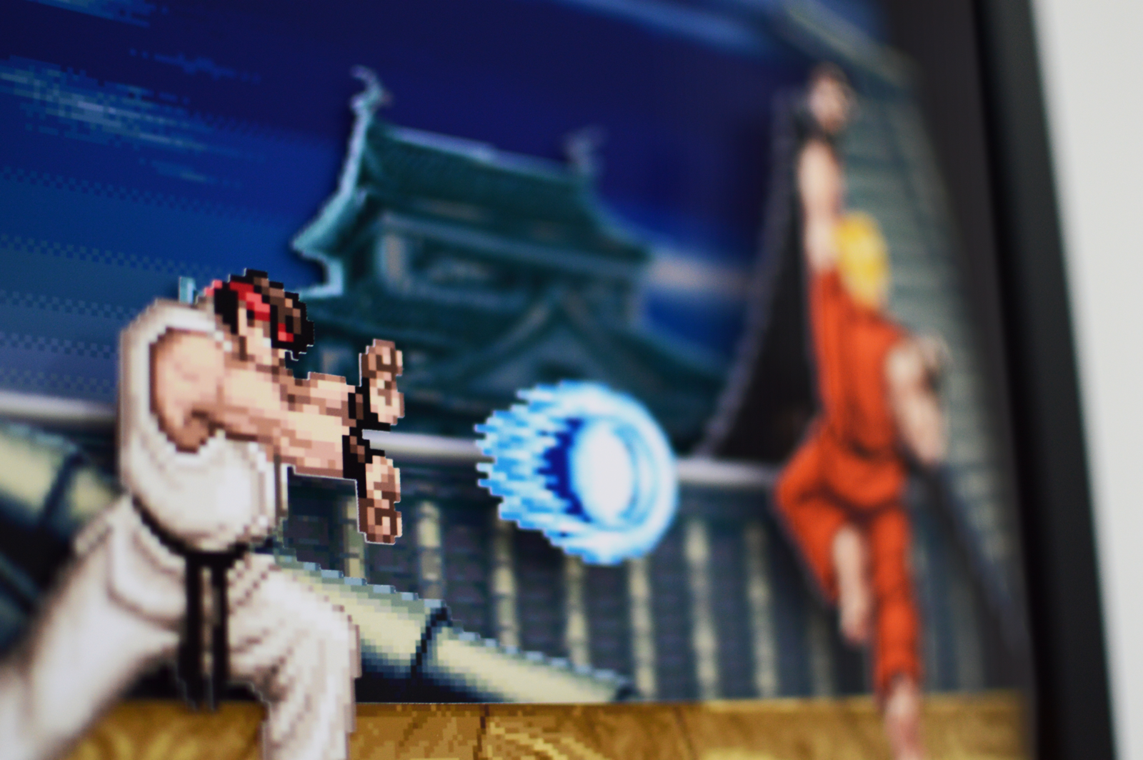 Super Street Fighter 2 Ryu Stage 3d Shadow Box Frame 9 X 9