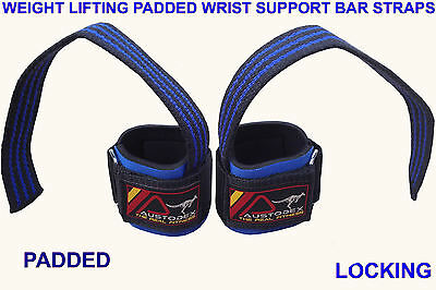 Austodex Weight Lifting Power Bar Wrist Straps wraps Bodybuilding Gym gloves 4