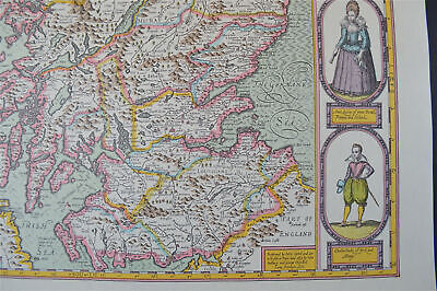 Vintage decorative sheet map of Scotland Orkney John Speede 1610 4