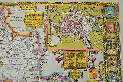 Vintage decorative sheet map of Oxfordshire Oxford John Speede 1610 2