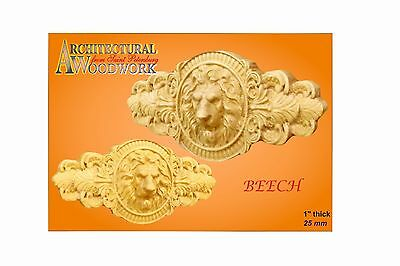 Hand Carved Beech Lion Head Applique Rosette Rz_374_17 Art
