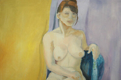 Large Expressionist nude woman portrait vintage oil painting 3