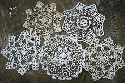 "lot of 14 Hand Crochet Doilies 5""-7""-14"" Wht & Natur VTG Wedding Tea Party NEW 4"