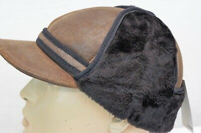 NEW100/% Sheepskin Shearling Leather Trapper Elmer Fudd Hunting Aviator Hat M-3XL