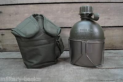 Feldflasche Trinkflasche mit Trinkbecher US aus ALU abnehmbarer Stofftasche