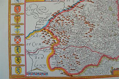 Vintage decorative sheet map of Northumberland John Speede 1610 4