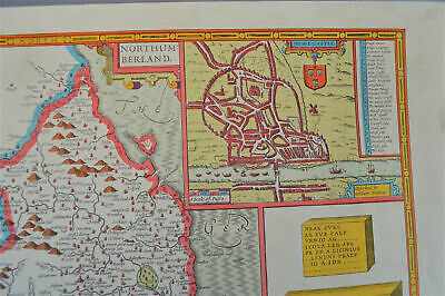 Vintage decorative sheet map of Northumberland John Speede 1610 2