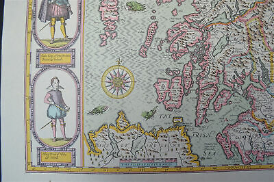 Vintage decorative sheet map of Scotland Orkney John Speede 1610 5
