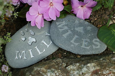 Hand carved, Personalised Pet Memorial stone, dog, cat, grave marker silver 3
