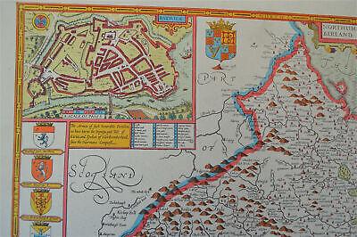 Vintage decorative sheet map of Northumberland John Speede 1610 3