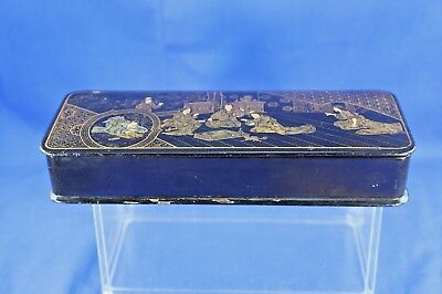 Antique Asian Lacquer Box With Gold Hand Painted Interior Scene 4