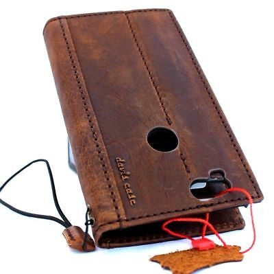 genuine real vintage leather case for Google Pixel 2 book wallet cover holder ID 8