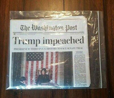 Mint Washington Post Trump Impeached Newspaper 12/19/2019 MAILED FLAT 3
