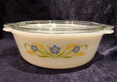 Vintage A-H Fire-King '64-66; RARE FORGET-ME-NOT Clear-Lidded 1 1-2 QT Casserole 7