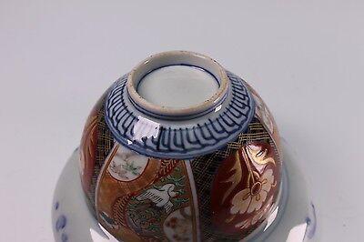 Antique Meiji Hizen Imari Arita Ware 3 Piece Lidded Rice Bowl - D 7