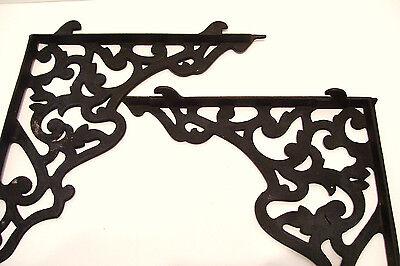 Pair Vintage Steel Shelf Brackets Lock In Type 12 x 14 Inches Victorian Style 2