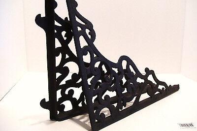 Pair Vintage Steel Shelf Brackets Lock In Type 12 x 14 Inches Victorian Style 4